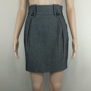 [bebe] Grey Herringbone Wool blend Stretch Skirt